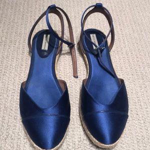Tabitha Simmons blue satin espadrille size 40